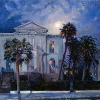 West Fraser, Moonlit Phoenix Palms, Image: 36 x 40 in. (91.4 x 101.6 cm); frame: 43 x 47 in. (109.2 x 119.4 cm), Courtesy of the artist and Helena Fox Fine Art, Charleston, South Carolina