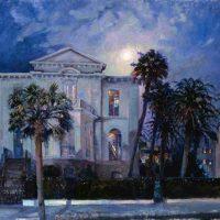 West Fraser, Moonlit Phoenix Palms, Oil on linen, Image: 36 x 40 in. (91.4 x 101.6 cm); frame: 43 x 47 in. (109.2 x 119.4 cm), Courtesy of the artist and Helena Fox Fine Art, Charleston, South Carolina