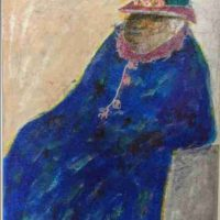 Leo F. Twiggs, Woman In Blue Dress, Overall: 18 x 13in. (45.7 x 33cm), Courtesy of the aritst and if ART Gallery, Columbia, South Carolina