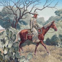 Tom Lea, At the Edge of the Brush, Oil on canvas, image: 24 x 30 in. (61 x 76.2 cm); framed: 35 1/4 x 40 7/8 in. (89.5 x 103.8 cm), El Paso Museum of Art, Gift of Mr. and Mrs. I.T. Schwartz and family