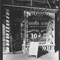 Berenice Abbott, Tri-Boro Barber School, Overall: 10 x 8in. (25.4 x 20.3cm), Collection of Art in Embassies, Washington, D.C.; Courtesy of Brooklyn Museum Collection, X858.5