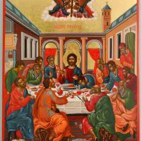 Sofia Portalaki, The Last Supper, Egg tempera on wood, Overall: 24 7/16 x 16 9/16in. (62 x 42cm), Courtesy of the Portalakis Collection, Athens, Greece