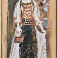 Yannis Tsarouchis, Woman from Atalanti, Tempera on canvas, Overall: 14 9/16 x 7 1/16in. (37 x 18cm), Courtesy of the Portalakis Collection, Athens, Greece