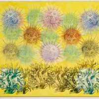 Philip Taaffe, Painting with Radiolaria & Milleporidge, Mixed media on canvas, Overall: 33 1/4 x 39 1/2in. (84.5 x 100.3cm), Courtesy of the Portalakis Collection, Athens, Greece