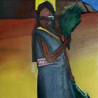Mateo Romero, Untitled, Acrylic on canvas, Framed:  38 x 30 x 1 1/2 in.  (96.5 x 76.2 x 3.8 cm), Courtesy of Art in Embassies, Washington, D.C.
