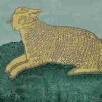 Kate Hanlon, Lamb, Woodcut, Overall: 41 × 52 1/4in. (104.1 × 132.7cm), Courtesy of the artist, Newburyport, Massachusetts