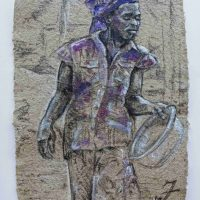 Melissa Finkenbiner, Woman in Violet Wrap, Overall: 23 1/4 × 29 3/4in. (59 × 75.5cm), Courtesy of the artist, Harare, Zimbabwe