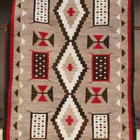 Artist Unknown, Navajo Ganado Rug with Maltese Crosses and Miniature Textile Sampler Designs, wool, Overall: 90 × 52 1/2in. (228.6 × 133.4cm), Courtesy of Medicine Man Gallery, Tucson, Arizona