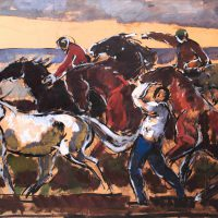 Gifford Beal, Horses Against the Sea, Overall: 18 1/2 x 36 1/2in. (47 x 92.7cm), Collection of Art in Embassies, Washington, D.C.; Gift of the Estate of Gifford Beal, Courtesy of Kraushaar Galleries, New York, New York