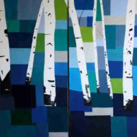 Patricia Clendening Buzzerio, Blue Birch Diptych, Oil on canvas, Overall: 23 5/8 × 36 1/4in. (60 × 92cm), Courtesy of the artist, Wassenaar, The Netherlands