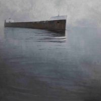 Mary Jo Van Dell, Approach, Great Lakes Freighter, Two Harbors, Minnesota, Oil on linen, Overall: 37 × 41in. (94 × 104.1cm), Courtesy of a Private Collection