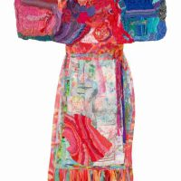 Michele Lasker, Festival Dance, Freeform Knitted, Crocheted, and Hand Dyed Fabric, Embellished with Embroidery and Itajime, Overall: 64 × 43 × 2in. (162.6 × 109.2 × 5.1cm), Courtesy of the artist, Tulsa, Oklahoma