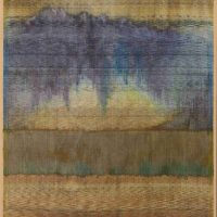 Polly Barton, Fertile Ground, Handwoven silk warp, silk and metallic weft, Ikat in silk and metallic thread, with additional dye painted on the warp before weaving, Overall: 41 1/2 × 31 1/4in. (105.4 × 79.4cm), Courtesy of the artist, Santa Fe, New Mexico, and Gravers Lane Gallery, Philadelphia, Pennsylvania