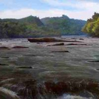 John Mac Kah, French Broad River, Oil on panel, Overall: 30 × 53in. (76.2 × 134.6cm), Courtesy of the artist, Asheville, North Carolina