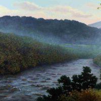 John Mac Kah, French Broad Olivette, Oil on panel, Overall: 17 × 25in. (43.2 × 63.5cm), Courtesy of the artist, Asheville, North Carolina
