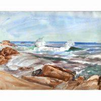 Reginald Marsh, Breakers, Watercolor, Overall: 27 x 32 3/4 x 1 3/4 in. (68.6 x 83.2 x 4.4 cm), Collection of Art in Embassies, Washington, D.C.; Gift of William Benton