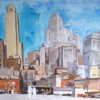 Reginald Marsh, Downtown New York, Overall: 27 1/4 x 33 3/4 x 1 1/2 in. (69.2 x 85.7 x 3.8 cm), Collection of Art in Embassies, Washington, D.C.; Gift of William Benton