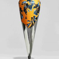 Hongwei Li, Upwelling of Gravity #42, Fired porcelain, stainless steel, Overall: 26 × 10 × 10in. (66 × 25.4 × 25.4cm), Courtesy of the artist, Alfred, New York