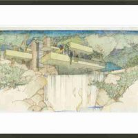 Frank Lloyd Wright Foundation Store, Falling Water, Authorized reproduction of the 1935 sketch, Color Pencil On Tracing Paper from the Frank Lloyd Wright Foundation Archives, Overall: 23 × 15in. (58.4 × 38.1cm), Authorized reproduction of the 1935 sketch, Color Pencil On Tracing Paper from the Frank Lloyd Wright Foundation Archives
