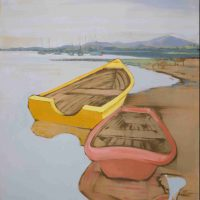Amelia Bernays Pitti, Yellow Boat Three, Acrylic on canvas, Overall: 36 × 48in. (91.4 × 121.9cm), Courtesy of the artist, Glendale, California