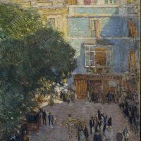 Childe Hassam, Square at Sevilla, Oil on wood, Overall: 25 9/16 x 20 13/16in. (65 x 52.8cm), framed, On loan from The Hispanic Society of America, New York.