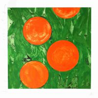 Donald Sultan, Four Oranges, Screenprint, Overall: 39 1/4 x 38 1/4 x 1 1/2 in. (99.7 x 97.2 x 3.8 cm), Collection of Art in Embassies, Washington, D.C.; Gift of Lincoln Center / Vera List Art Program