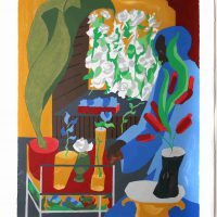 Jacob Lawrence, Supermarket Flora, Silkscreen on paper, Overall: 38 x 30 x 2 1/8 in. (96.5 x 76.2 x 5.4 cm), Courtesy of the Foundation for Art and Preservation in Embassies, Washington, D.C.