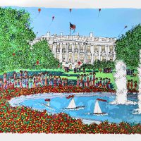 Susan Pear Meisel, The White House, Screenprint, Overall: 26 1/4 x 32 3/8 x 1 5/8 in. (66.7 x 82.2 x 4.1 cm), Collection of Art in Embassies, Washington, D.C.; Gift of Franklin Wilk
