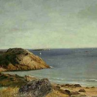 John  Frederick Kensett, Rocky Coast, 1855-1865, Oil on canvas, Overall: 22 3/8 × 31 1/2in. (56.8 × 80cm), Courtesy of The Art Institute of Chicago, Gift of Brooks McCormick