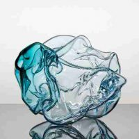 Kiara Pelissier, Dark Island Crumple, 2019, Blown Glass, Overall: 9 × 12 1/2 × 10 1/2in. (22.9 × 31.8 × 26.7cm), Courtesy of the artist and Reynolds Gallery
