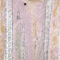 Lyonel Feininger, Manhattan Dawn, 1944, Oil on canvas, Overall: 37 × 30 × 2in. (94 × 76.2 × 5.1cm), Courtesy of The Art Institute of Chicago, Gift of Mrs and Mrs. Andreas Feininger
