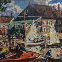 Gifford Beal, Boats on the Pier, Oil on canvas, Overall: 33 1/4 x 41 1/4 x 1 1/2in. (84.5 x 104.8 x 3.8cm), Collection of Art in Embassies, Washington, D.C.; Gift of the Estate of Gifford Beal, Courtesy of Kraushaar Galleries, New York, New York