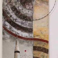 Ken Girardini, La Grange Point 2, Imagery, painting and steel on aluminum and wood panel, Overall: 78 × 36 × 3in. (198.1 × 91.4 × 7.6cm), Courtesy of the artist, Sykesville, Maryland