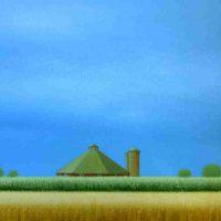 Sharon France, Octagon Barn, Acrylic on canvas, Overall: 20 3/4 × 24 1/2in. (52.7 × 62.2cm), Courtesy of the artist, Malta, Illinois