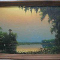 Sam Newton, Untitled (Steamy River Sunset), Oil on Upsom board, Overall: 26 1/2 × 38 3/4in. (67.3 × 98.4cm), Courtesy of Antony Hayton, Ottawa, Ontario, Canada