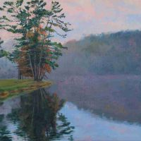 Susan Kokora, Glassy Waters, Oil on linen panel, Overall: 21 × 29in. (53.3 × 73.7cm), Courtesy of the artist, Asheville, North Carolina