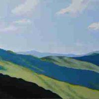 Dana Margaret Irwin, Blue Ridge from Craggy, Acrylic on board, Overall: 21 × 11in. (53.3 × 27.9cm), Courtesy of the artist, Fairview, North Carolina