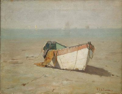 Charles Green, Winter Dory, King's Beach, Swampscott, Massachusetts, ca. 1890, Oil on canvas, Courtesy of the Museum of Fine Arts, Boston, Boston, Massachusetts; Gift of Clara C. Lyman in memory of Charles Boden Green