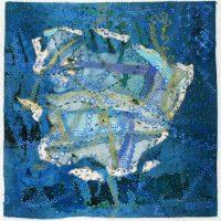 Rosemary Claus-Gray, Ozark Springs I, Hand-dyed fabric, handmade paper, silk, thread, paint, 16 x 16 x 1 1/2 in. (40.6 x 40.6 x 3.8 cm), Courtesy of the artist, Poplar Bluff, Missouri
