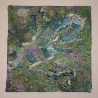 Rosemary Claus-Gray, Ozark Springs IV, Hand-dyed fabric, handmade paper, silk, thread, paint, 16 x 16 x 1 1/2 in. (40.6 x 40.6 x 3.8 cm), Courtesy of the artist, Poplar Bluff, Missouri
