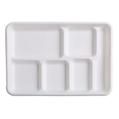Conserveware Sugarcane Lunch Tray 6 Compartment - 12.7″ x 8.7″ - 42RCT128S6
