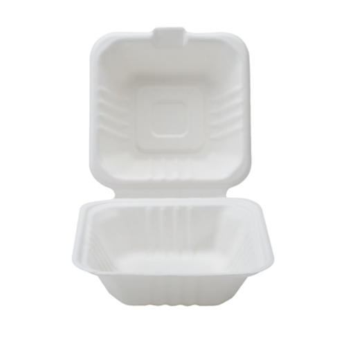 Conserveware Sugarcane Clamshell Hinged Container - 6″ x 6″ x 3″ - 42SH6