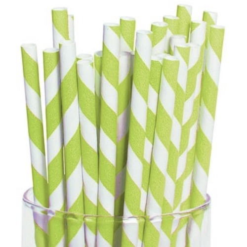 Bright-Green-White-Striped-Paper-Drinking-Straws-Unwrapped-7.75-in-x-.23-in