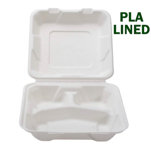 "Conserveware PLA Lined Clamshell Hinged Container 3 Compartment - 8"" x 8"" x 2.5"" - 42SHDL8S3"