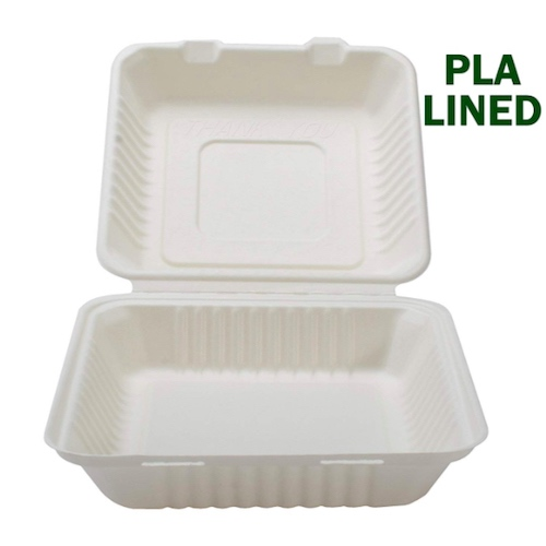Conserveware-Compostable-PLA-Lined-Hinged-Container-8-in-x-8-in-x-3-in-42SHDL8