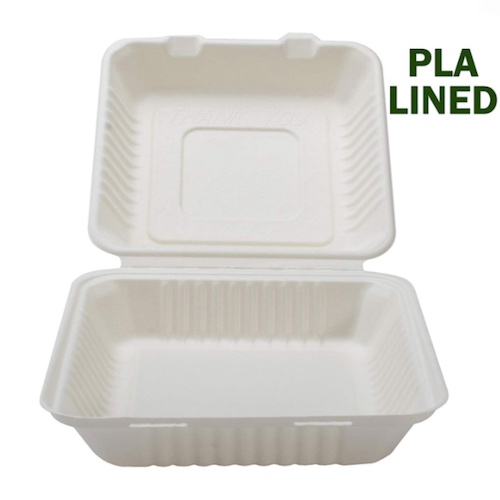 Conserveware-Compostable-PLA-Lined-Hinged-Container-9-in-x-9-in-x-3-in-42SHDL9