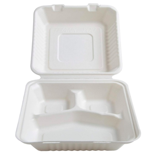 Conserveware Sugarcane Clamshell Hinged Container 3 Compartment- 8″ x 8″ x 3″ - 42SHD8S3