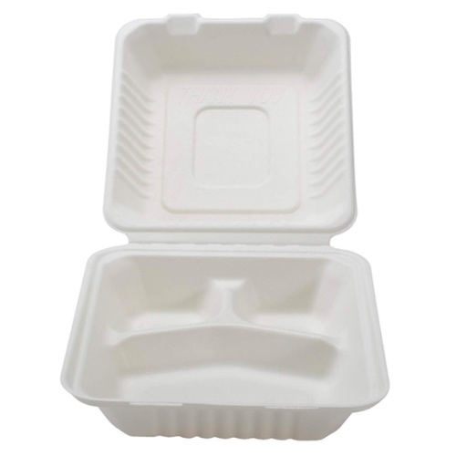 Conserveware-Compostable-Sugarcane-Hinged-3-Compartment-Container-9-in-x-9-in-x-3-in-42SHD9S3