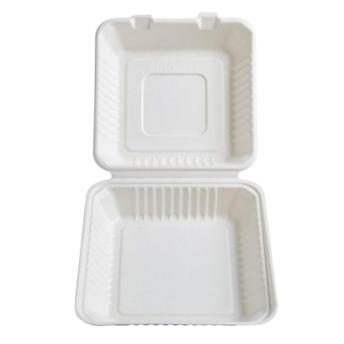 Conserveware-Compostable-Sugarcane-Hinged-Container-8-in-x-8-in-x-2.5-in-42SH8
