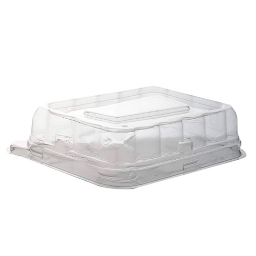 "Conserveware PETE Clear Dome Lid for Rectangular Bowl - 12-16 oz - 7"" x 4.5"" - 42RCL1216"